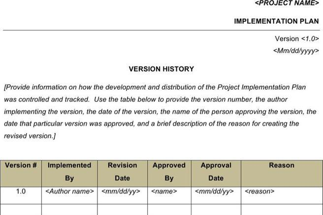 Sample Project Implementation Plan Templates