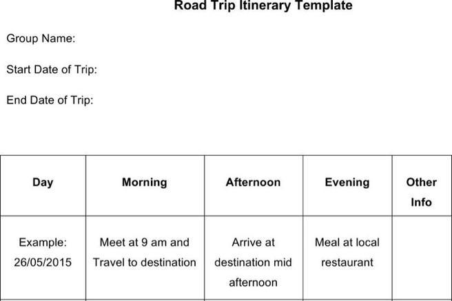 Sample Road Trip Itinerary Templates | Download Free & Premium