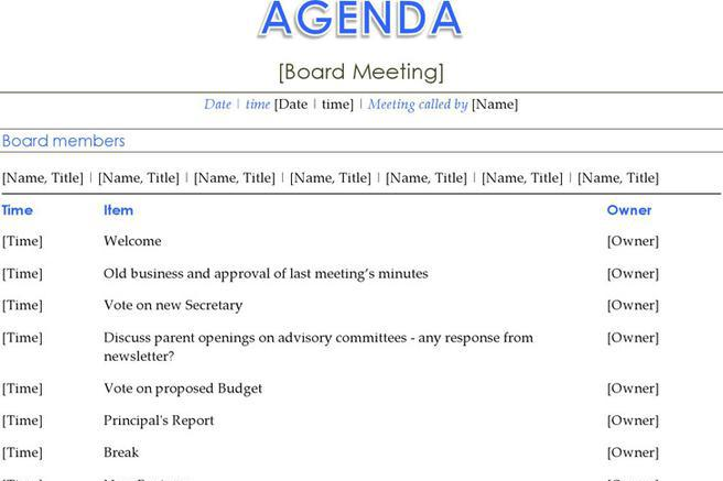 Agenda Template – Agenda Forms