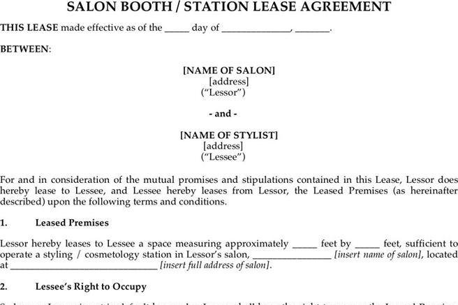 Rent and Lease Template – Booth Rental Agreement