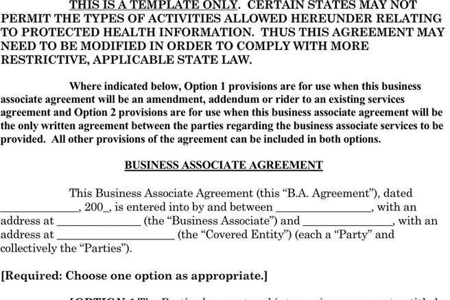 Contract Template – Business Associate Agreement Template