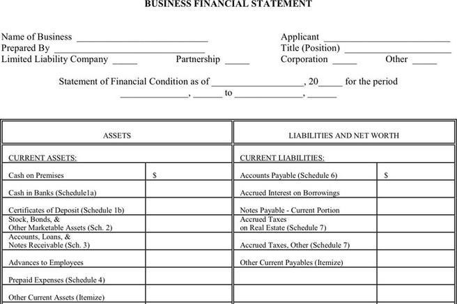 Financial Statement Form  Download Free  Premium Templates