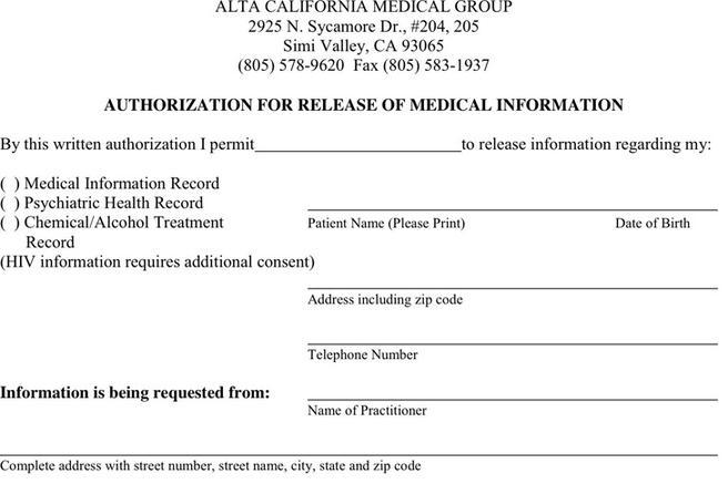 North Carolina Medical Records Release Form  Download Free