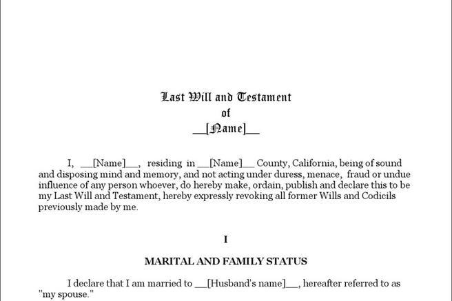 Last Will And Testament Form | Download Free & Premium Templates