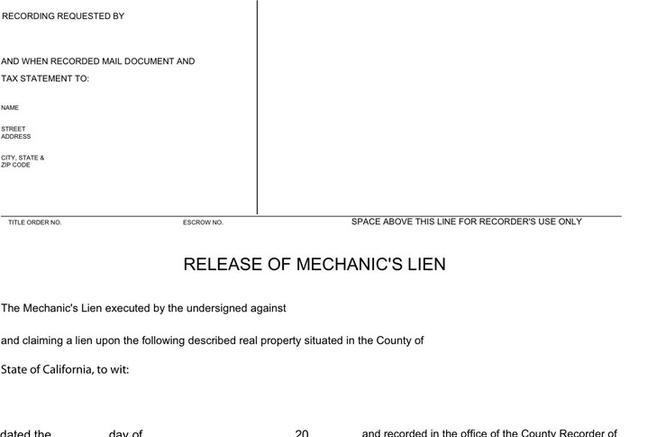 Release Form Lien Release Forms California Lien Waiver And Release