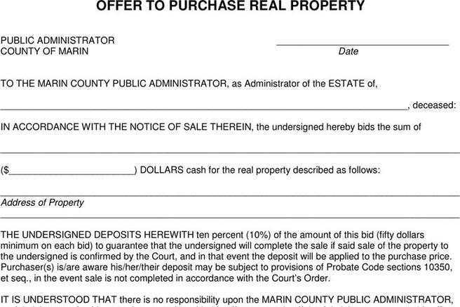 Offer To Purchase Real Estate Form  Download Free  Premium