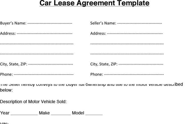 Car Lease Agreement  Download Free  Premium Templates Forms