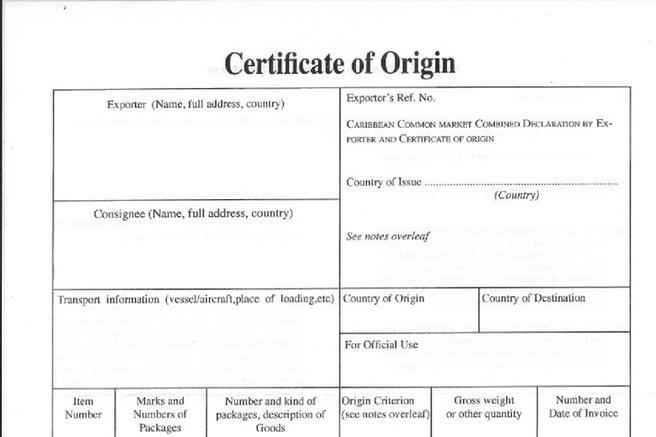 word certificate of origin
