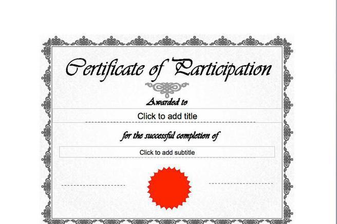 Certificate Template – Certificate of Participation Format