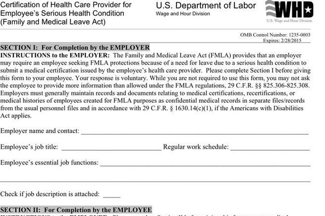 Fmla Form Fmla FormFamily  University Of WisconsinMadison Fmla