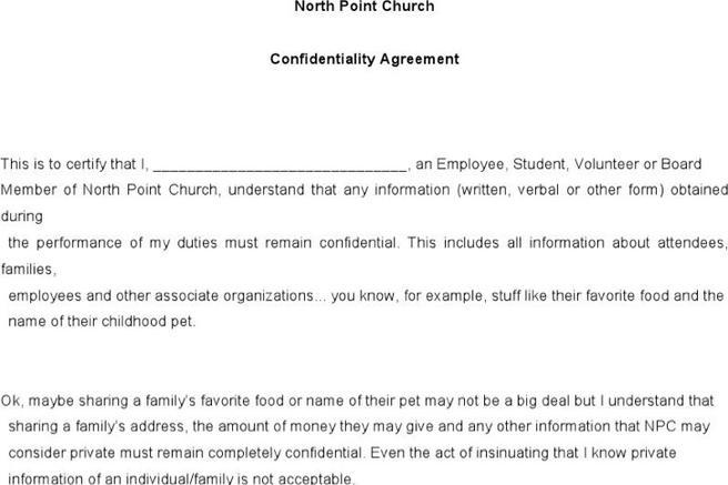 Church Confidentiality Agreement Templates  Download Free