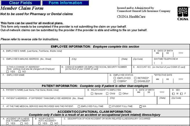 Medical Claim Form Sample Medical Claim Form Sample Medical Claim