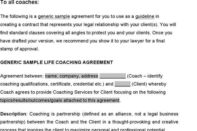 Coaching Contract Templates Sample Forms Of Hospital Visitation