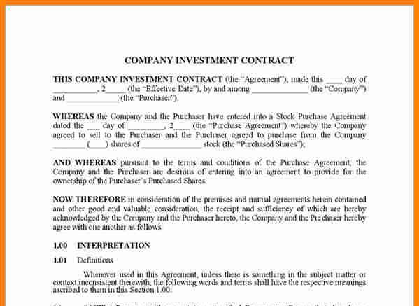 Doc536716 Simple Investment Agreement Template Investment – Simple Purchase Contract