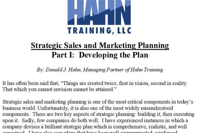 Sample Strategic Sales Plan Templates