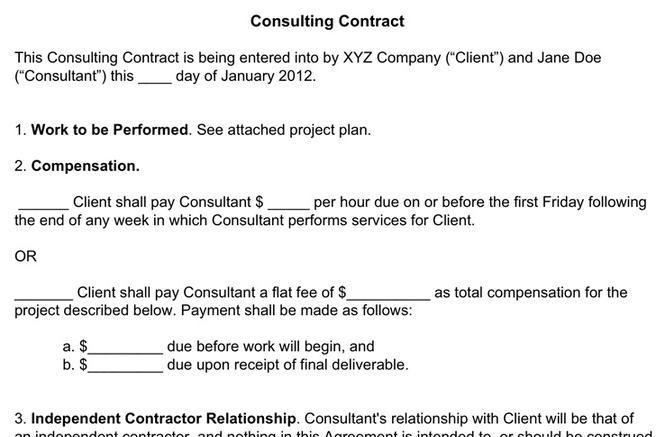Consultant Contract Template Independent Contractor  Consultant