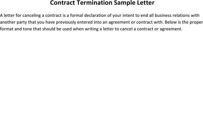 Contract Termination Letter. Real Estate Contract Termination Letter ...