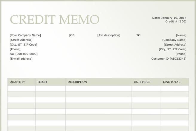 Credit Memo Template | Download Free & Premium Templates, Forms