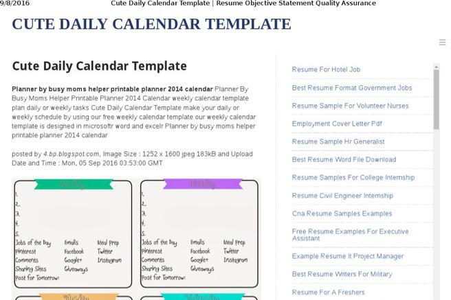 Plan Templates – Sample Cute Calendar Template