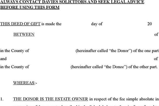 Sample Deed Of Gift Form Sample Codicil To Will  Deed Of Gift