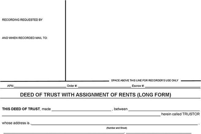 Deed of trust and assignment of rents
