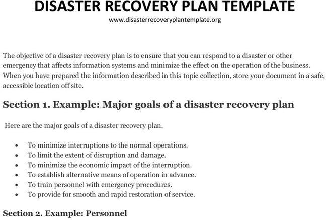 Plan Template – Disaster Recovery Plan Template