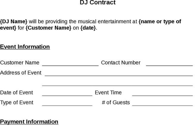 Dj Contract Template | Download Free & Premium Templates, Forms