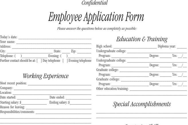 Employee Form – Employee Application Forms