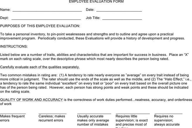 Evaluation Form – Sample Peer Evaluation Form