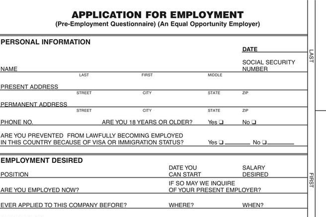 Blank Job Application Printable Blank Employment Application