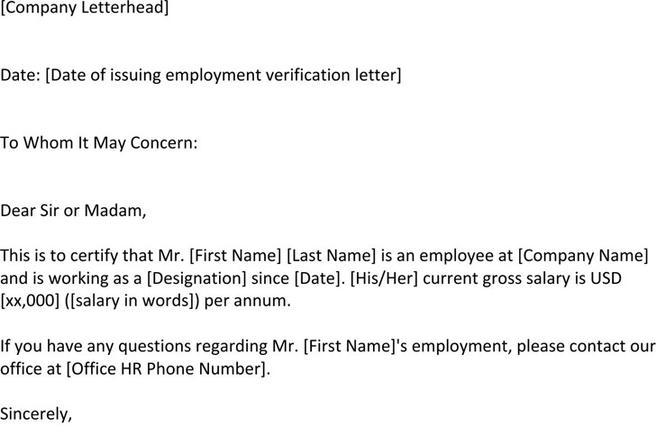 Employment Verification Letter Template  Download Free  Premium