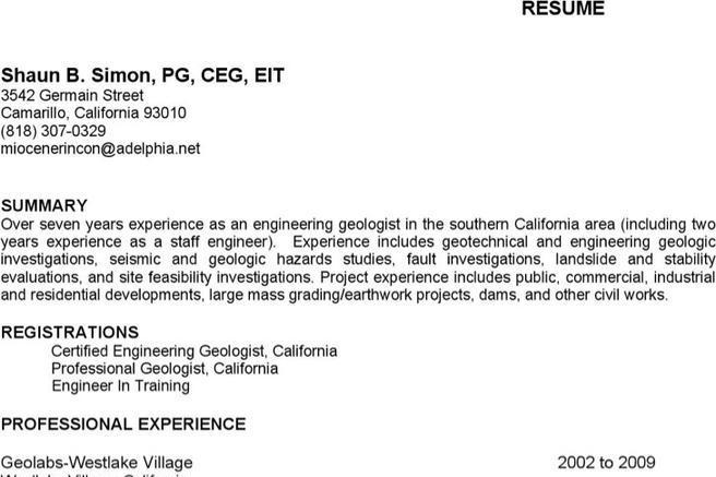 Geologist Resume Templates   Download Free & Premium Templates ...