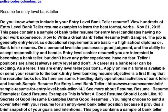 5  bank teller resume templates free download