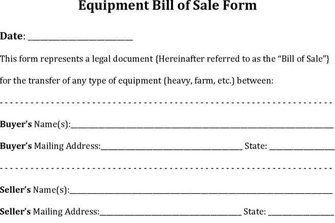 Equipment Bill Of Sale  Download Free  Premium Templates Forms