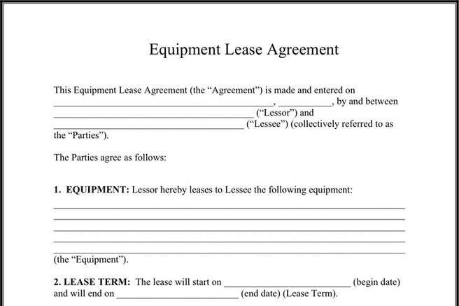 Rent and Lease Template – Equipment Lease Form Template