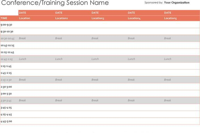 Schedule Template – Event Timetable Template