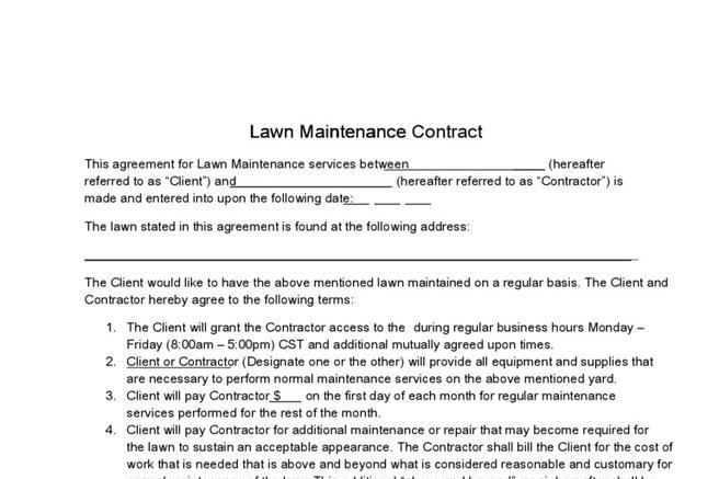 Contract template download free premium templates for Garden maintenance contract template