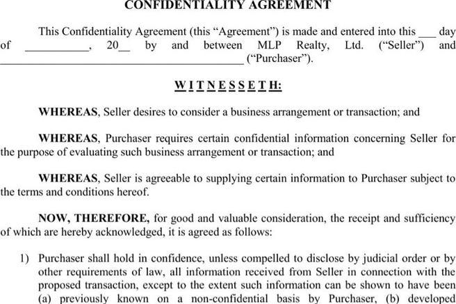 Real Estate Confidentiality Agreement Unilateral Non Disclosure