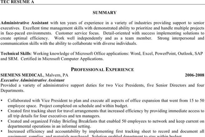 10  executive administrative assistant resume free download