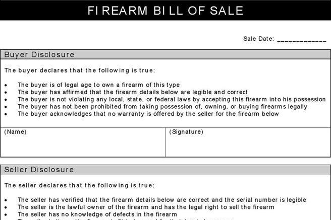Firearm Bill Of Sale Form | Download Free & Premium Templates