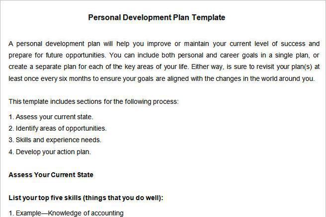 Self Development Plan Templates