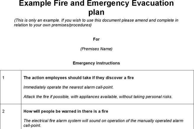 Emergency Evacuation Plan Templates