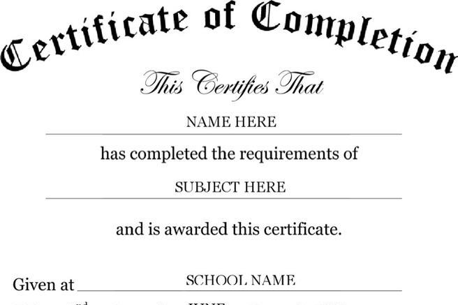 Certificate Template – Certificate of Completion Word Template