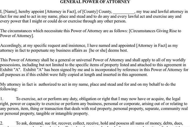 Power Of Attorney Form | Download Free & Premium Templates, Forms