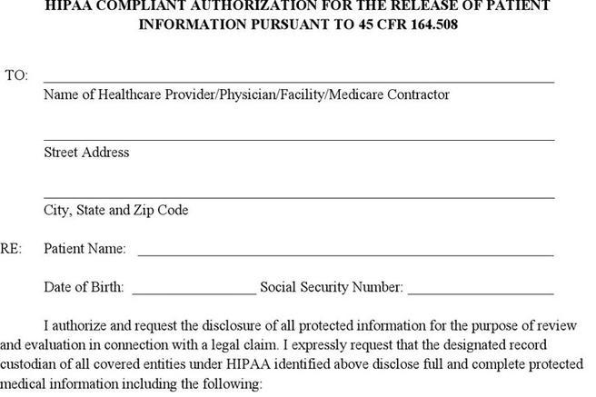 Medical Release Of Information Form Release Form Template Free