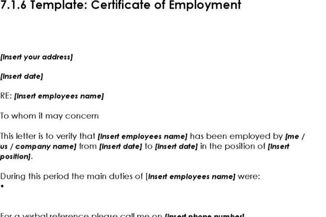 Doc585530 Working Certificate Format Employment Certificate – Employment Certificate Template