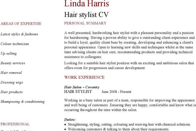 Hairdressing Cv Template Sample Doctor Cv Template Sales Manager Cv