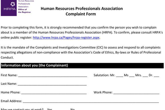 HR Complaint Forms