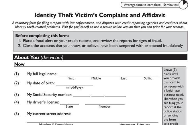 Identity Theft Affidavit  Download Free  Premium Templates