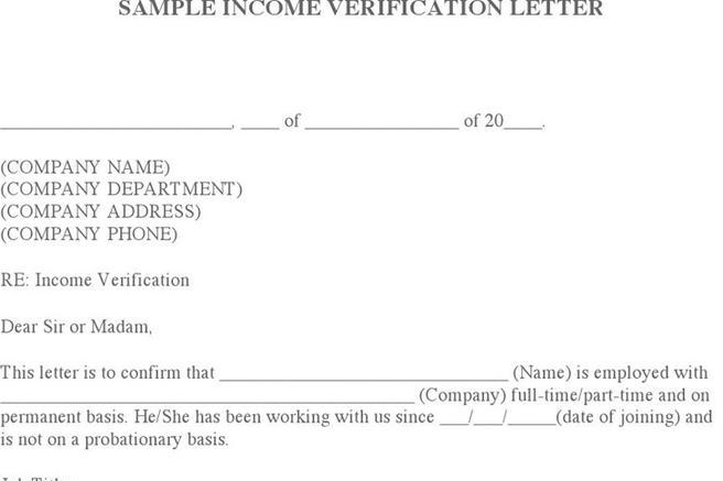 Income Verification Letter